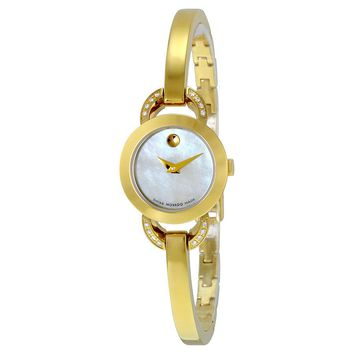 Movado Rondiro White Mother of Pearl Dial Yellow Gold PVD Ladies Watch 0606889
