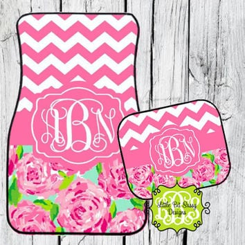 Car Mats Chevron Pink Roses Personalized Monogrammed Floor Car Mat Initial Rose