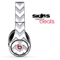 Silver Sparkle and White Chevron Pattern Skin for the Beats by Dre Solo, Studio, Wireless, Pro or Mixr