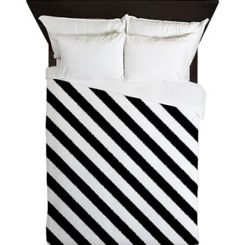 Duvet Cover - Black and White Striped Ikat Duvet Cover - Glamour Decor - Fashion Decor - Dorm Decor - Teen Room Decor - Girls Room