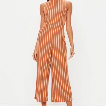 Missguided - Rust Stripe High Neck Culotte Jumpsuit