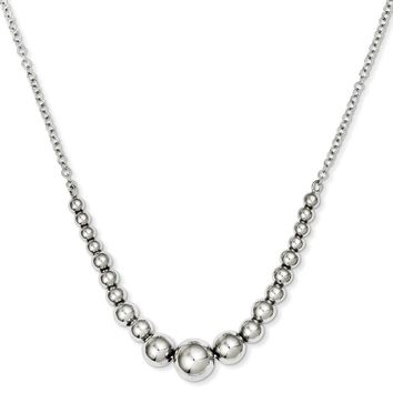 Sterling Silver 18 Inch Polished Graduated Bead Necklace