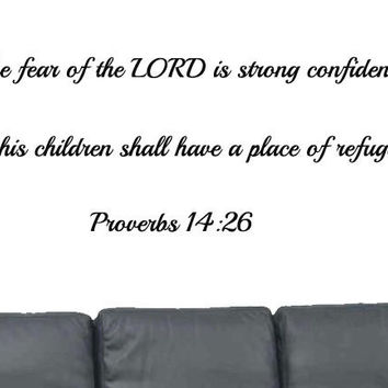 Bible Verse Wall Decal, Proverbs 14:16, Scripture Wall Decal