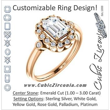 Cubic Zirconia Engagement Ring- The Raleigh (Customizable Emerald Cut Design with Clustered Halo and Round Bezel Accents)