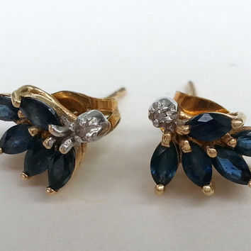 Vintage Marquise Cut Blue Sapphire Diamond 14k Yellow Gold Stud Earrings Free Shipping