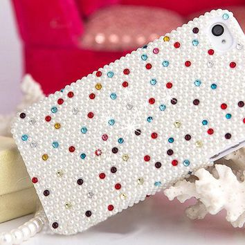 For Mobile Phone Girly Bling Mixed Pearls Diamonds Rhinetone Gem Hard Cover Case