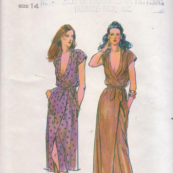 Vintage 1970s loose fitting front wrap, low cut cocktail or evening dress American Hustle misses size 14 bust 36 Butterick 6864 UNCUT