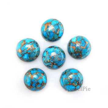 Copper Blue Turquoise Loose Gemstone Cabochon Round 10x10 AAA Grade - Healing Gemstone - 6 Pcs.