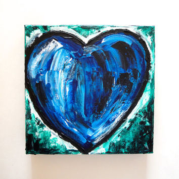 Blue Heart Original Abstract Acrylic Painting, 8x8 Canvas, Pallet Knife Art