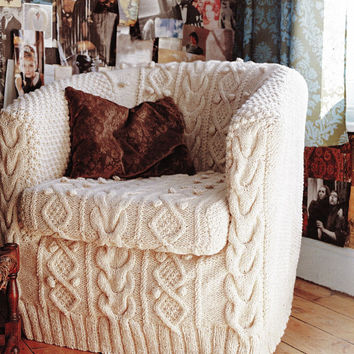 Aran chair cover pattern PDF Instant Download Thick Cable Cabin slip cover cushion chair cover knitting supplies epsteam knitting pattern