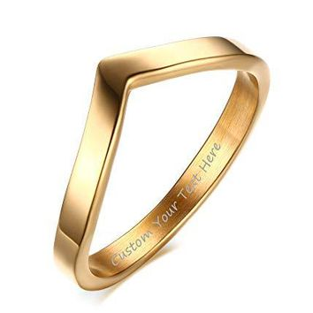 VNOX Fashion Customize 18K Gold Plated Stainless Steel Engagement Wedding Promise Chevron Rings for Women Girl