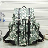 """Louis Vutitton"" Unisex Fashion Letter Logo Print Drawstring Backpack Couple Casual Large Capacity Double Shoulder Bag"