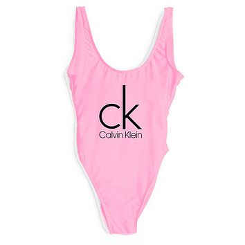 Calvin Klein SWIMMER SWIM TAN TOP VEST SHIRT V NECK WOMEN LETTERS BOTTOMING CLOTHES