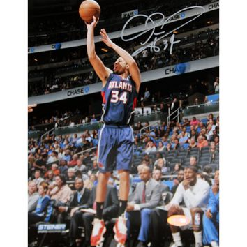 Devin Harris Atlanta Hawks Three Point Shot in Blue Jersey Signed 8x10 Photo