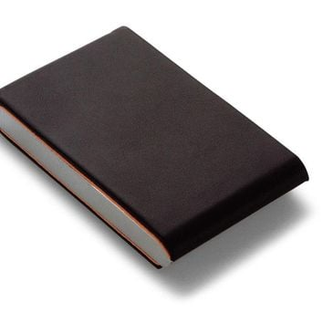 Two-Tone Leather & Metal Business Card Case