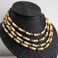 1970s - Vintage necklace, beads, 4 rows of beads, Vintage, Jewelery,  necklace, Folk, Retro, In perfect condition, My wealth