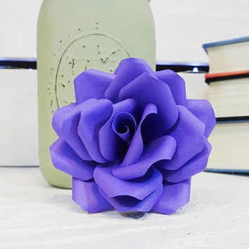 Purple Paper Flowers - Paper flowers with stems - Paper Flower Bouquet - Wedding Bouquet - Paper Anniversary - Wedding Flowers