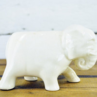 Vintage Animal Decor, Figurine, White Elephant Vase, Planter, Pencil Holder, Gift, Shelf Decor, Book End.