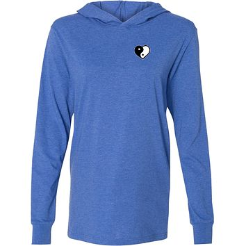 Yin Yang Heart Pocket Print Lightweight Yoga Hoodie Tee