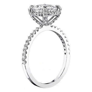 Engagement Ring - Crown Round Diamond Halo Engagement Ring 0.7 Carat in 14K White Gold - ES298