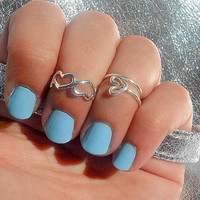 Kuckle Rings- Silver Open Heart's Above Knuckle Ring's - Above Knuckle Open Heart's Ring's - Set of 2 by Tiny Box