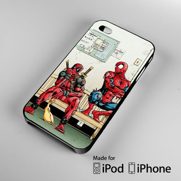 Funny Spiderman and Deadpool iPhone 4S 5S 5C 6 6Plus, iPod 4 5, LG G2 G3, Sony Z2 Case