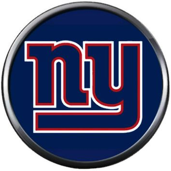 NFL New York NY Giants Logo On Blue Football Game Lovers Team Spirit 18MM - 20MM Fashion Jewelry Snap Charm