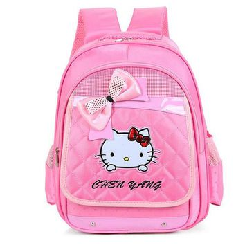 School Backpack Hello Kitty Orthopedic Backpack for Girls School Bags with Bow PU Leather Primary SchoolBag Children Backpack sac a dos enfant AT_48_3