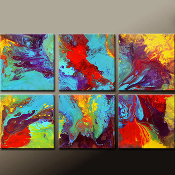 6pc Abstract Canvas Art Painting  Original Contemporary Modern Wall Art Paintings by Destiny Womack - dWo - Pure Imagination