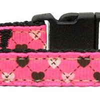 Argyle Hearts Nylon Ribbon Cat Collar (3 Colors Available)