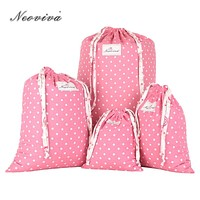 Neoviva Cotton Laundry Bag for Travel with Drawstring Pack of 4 Different Sizes Polka Dots Prism Pink Storage Bags Kit Lavanderi