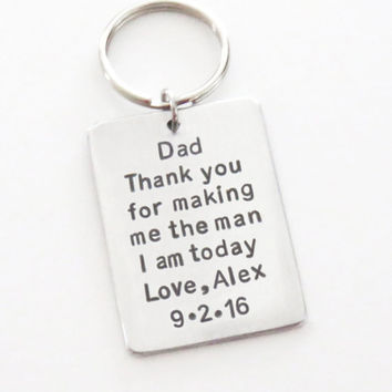 Gift for father of the groom gift - Thank you for making me the man I am today keychain - Personalized father of groom gift
