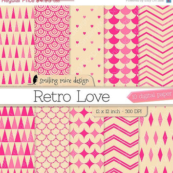 80% OFF SALE RETRO Love digital paper / digital scrapbook paper / digital paper