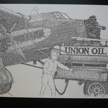 UNION OIL, Not a print ORIGINAL Handmade Drawing, Original Drawing, Ink on paper, 35x50cm, 13.5x19.5 in.