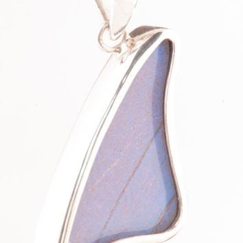 Silver butterfly pendant  - Iridescent Blue Wing Shaped Morpho Didius