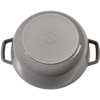 Staub Cast Iron 3.75-qt Essential French Oven Cooking Pot Rooster Graphite Grey