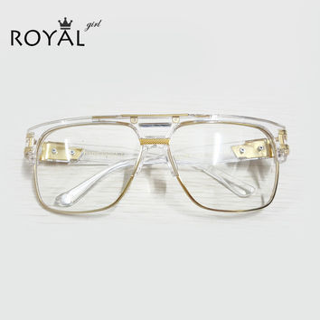 top quality luxury men brand glasses vintage oversize clear fram