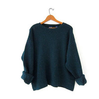 Vintage speckled green sweater. Oversized sweater. Boxy pullover. Wool sweater.