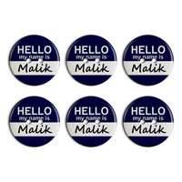 Malik Hello My Name Is Plastic Resin Button Set of 6