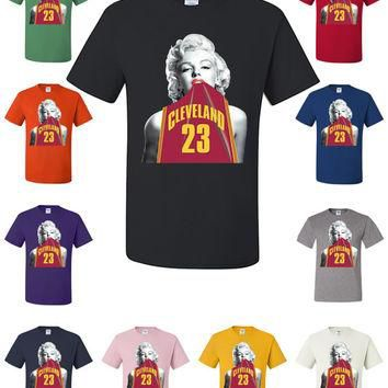 Marilyn Monroe In Cleveland Cavaliers LeBron James #23 Jersey T-Shirt NBA Fan 405