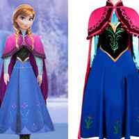 Anna Dress,Anna Costume, Anna Cosplay Costume with Cloak