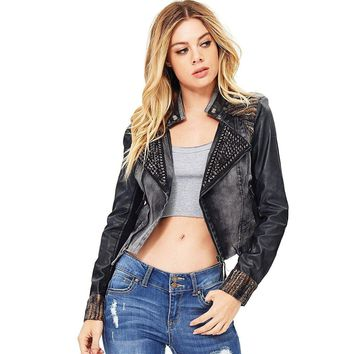 Women's Distressed Denim Studded Biker Jacket