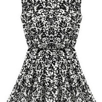 Black and White Paisley Print Sleeveless Flare Dress