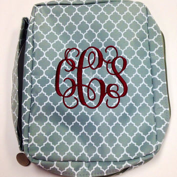 Quatrefoil Monogrammed Bible Cover, Book Cover, Personalized