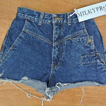 "High Waisted Cuffed Light Blue Shorts Size 1 / 2 Milky Fr3sh ""Claire"""