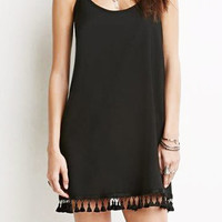 Black Spaghetti Strap Tassel Trim Hemline Shift Dress