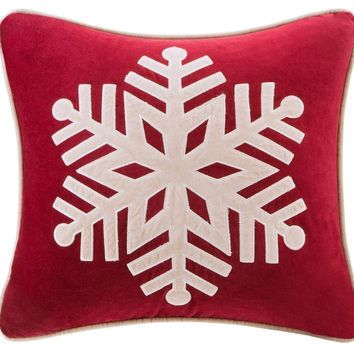 Alps Red Snowflake Throw Pillow