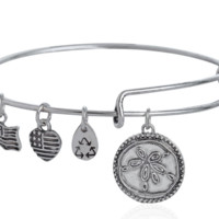 Alex and Ani style flower pendant charm bracelet,a perfect gift !