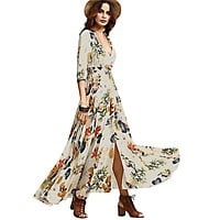 National Hepburn Style Retro Bohemian Vestidos Gypsy Floral Print Maxi Hippie Holiday Summer Long Flowing Dress Boho Women