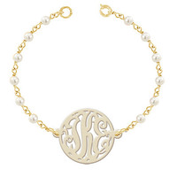 Monogram Bracelet   White Pearl Tone Glass Beads  Gold tone